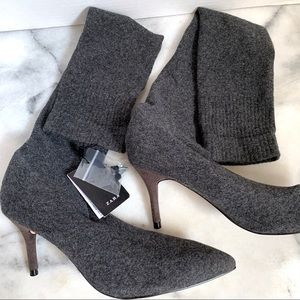 Zara Basic Grey Sock Boots Size 6 NWT